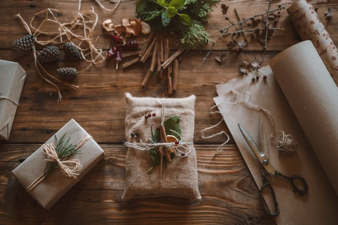 Gifts for Christmas eves decorated only with organic decoration