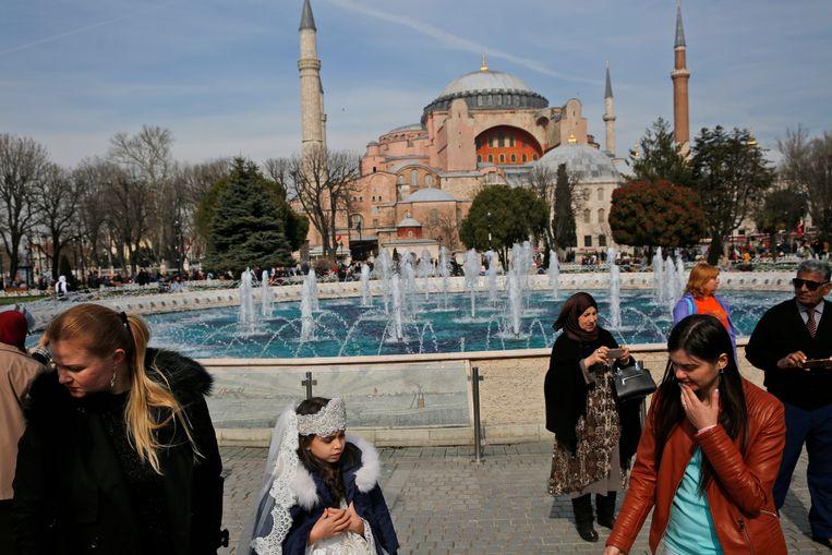 President Erdogan van Turkije wil van de Hagia Sophia weer een moskee maken.  Het dient nu als museum.  Beeld AP