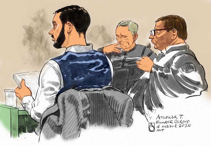 Rechtbanktekening van Anouar Taghi, neef van de onlangs in Dubai gearresteerde vermeende topcrimineel Ridouan Taghi. De 26-jarige Anouar wordt ervan verdacht betrokken te zijn bij de moord op advocaat Derk Wiersum vorig jaar.