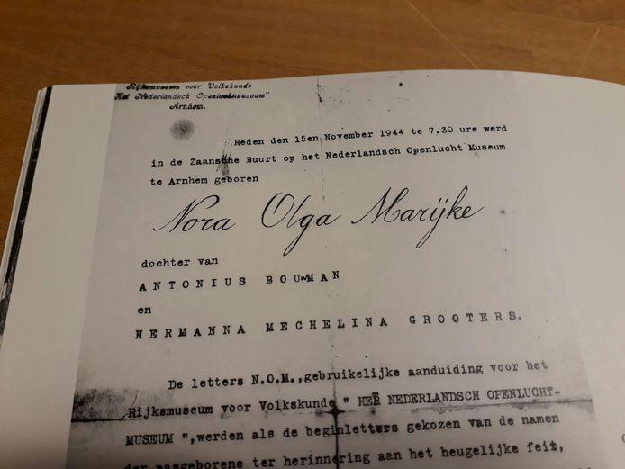 Geboortecertificaat Nora Openluchtmuseum
