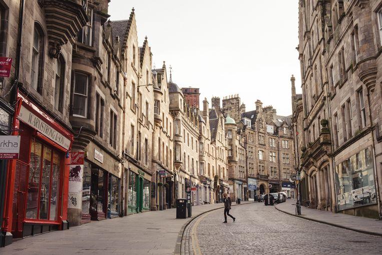 Door de lockdown is er in het centrum van Edinburgh amper iets te merken van de aanstaande 'onafhankelijkheidsverkiezingen'. Beeld Carlotta Cardana