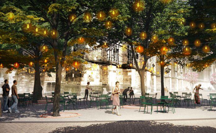 Met lichtsnoeren onder de bomen met warm licht moeten de terrassen aan en op het Grote Kerkhof een gemoedelijke plek worden.