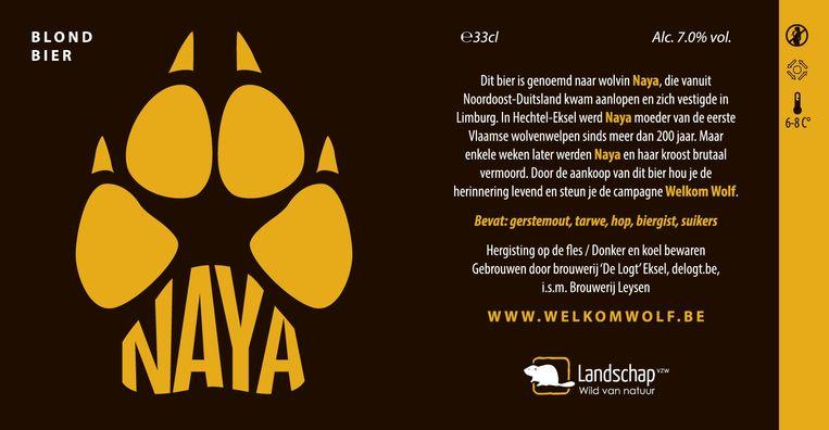 Op het etiket van het biertje vertelt Welkom Wolf het verhaal van Naya.