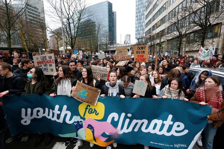 Jongeren demonstreerden vorige week ook al in Brussel. Beeld BELGA
