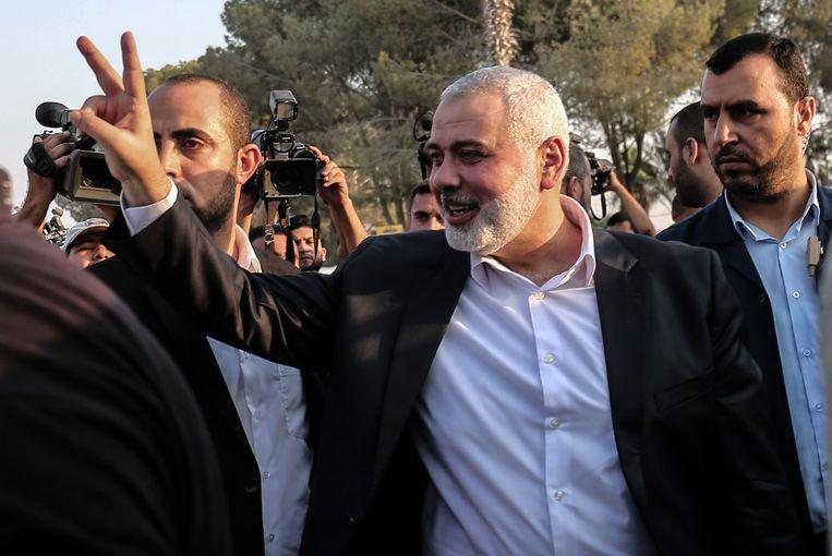 Hamas-leider Ismail Haniyeh maakte de deal bekend.  Beeld AFP