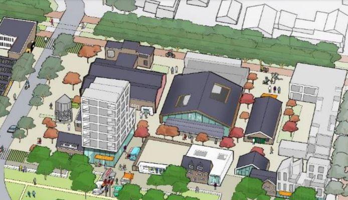 Klavers Jansen nieuwe stijl, met opgeknapte loodsen en panden en links een nieuw te bouwen complex met 40 appartementen. Wonen wordt er gecombineerd met een culturele hotspot.