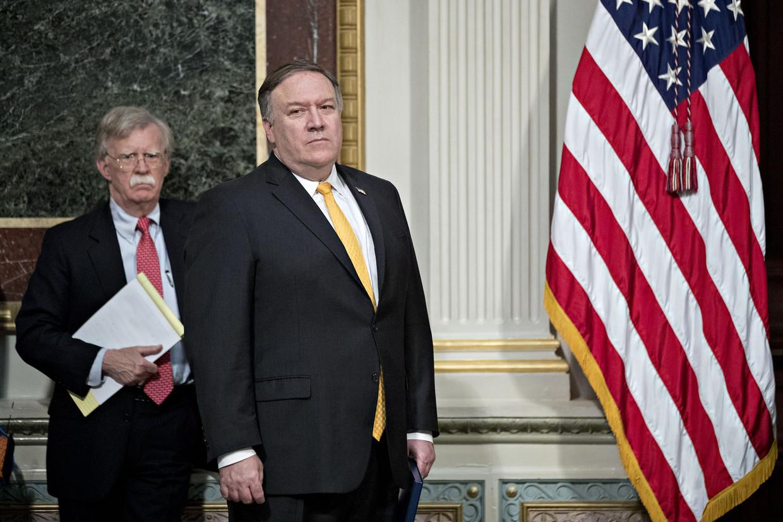 John Bolton en Mike Pompeo: haviken die dromen van militaire interventies. Zover lijkt het nog niet te komen.