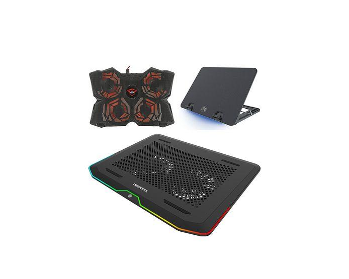 Met de klok mee: Trust GXT 278, Cooler Master Ergostand IV en Deepcool N80 RGB