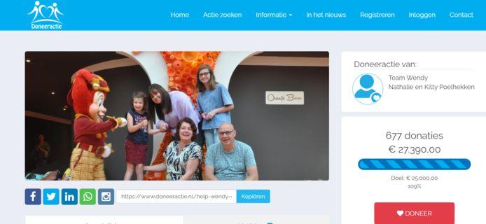 Screenshot van de website Doneeractie.nl waar gedoneerd kan worden.