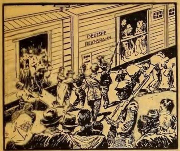 Striptekening van August M. Froehlich in het politieke pamflet 'The bloody record of Nazi atrocities'.   Beeld Arco Publishing Company NYC 1944-1945