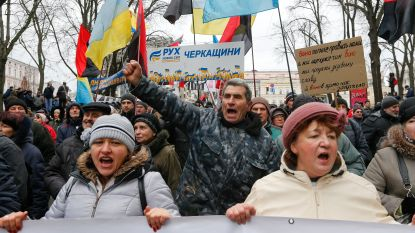 Duizenden mensen eisen ontslag Oekraïense president Porosjenko