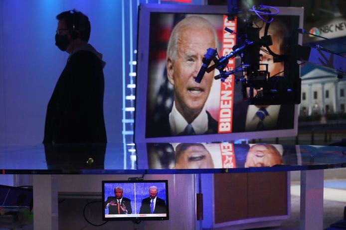 Het debat gezien van uit een televisiestudio in Manhattan.