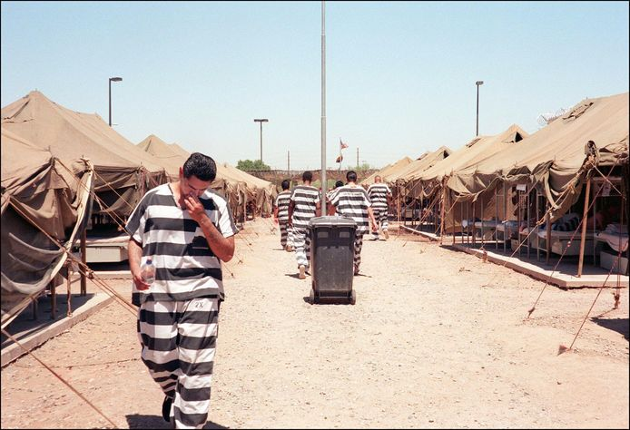 Gevangenen van het beruchte Tent City, Maricopa County.
