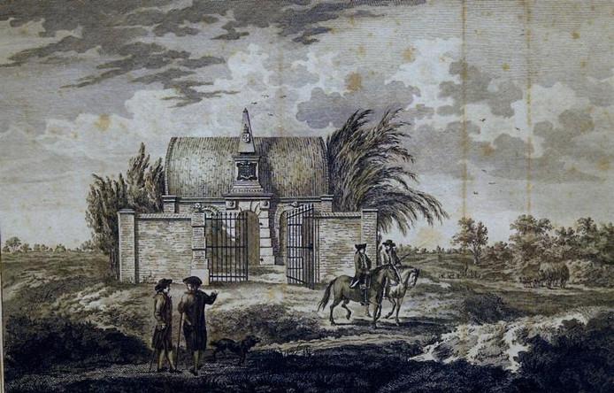 Een oude tekening van het familiegraf van de Van der Capellens. Aanhangers van het koningshuis bliezen het in 1786 op. foto Bibliotheek Gorssel