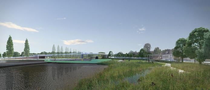 Voorontwerp nieuwe Steenbruggebrug: de fietsersbrug (groen) komt naast de vaste brug