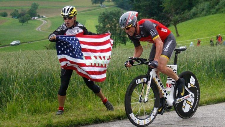 Lance Armstrong kwam in de afsluitende tijdrit twaalf seconden tekort voor de eindoverwinning in de Ronde van Zwitserland. Foto AP Beeld