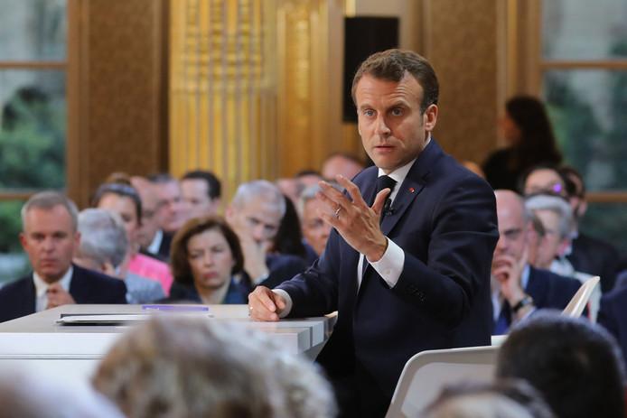 Emmanuel Macron tijdens zijn toespraak