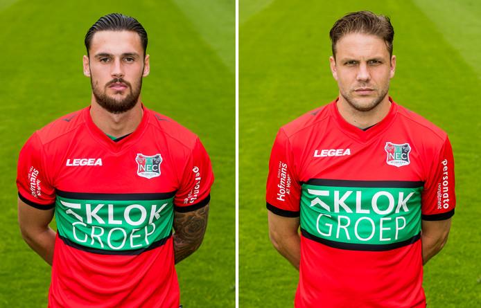 Mathias Bossaerts (links) en Joey van den Berg zijn teruggezet naar Jong NEC en mogen transfervrij vertrekken bij de eerstedivisionist uit Nijmegen.