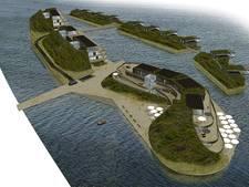 Menselijk lint om stadhuis tegen Zeeuwse Lagune in Veerse Meer