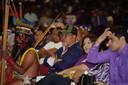 De Surinaamse president Desi Bouterse tussen zijn aanhangers tijdens een partijbijeenkomst van de Nationale Democratische Partij (NDP) afgelopen vrijdag