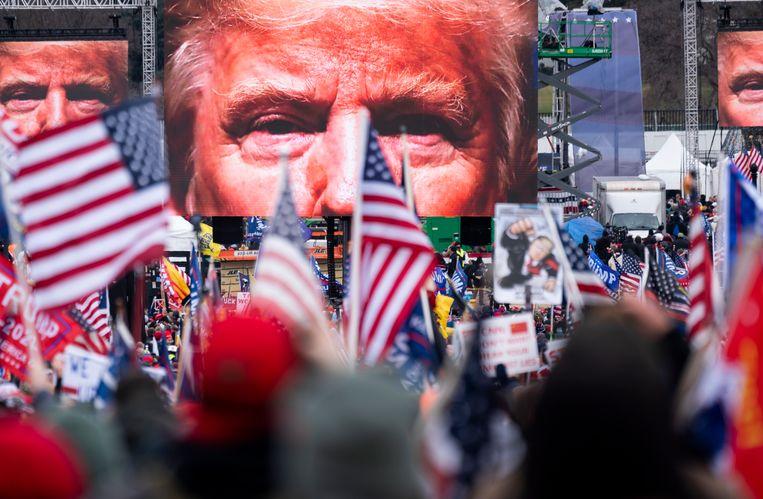 De beeltenis van president Donald Trump op 6 januari 2021, de dag dat het Capitool bestormd werd door een woedende meute.  Beeld CQ-Roll Call, Inc via Getty Images