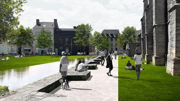 De nieuwe 'Guldensporengracht' aan de Onze-Lieve-Vrouwekerk