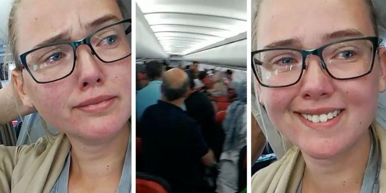 Elin Ersson weigerde op een vliegtuig te gaan zitten omdat een Afghaanse vluchteling met diezelfde vlucht gedeporteerd zou worden.  Beeld Elin Ersson