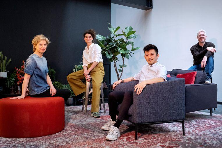 Van links naar rechts: Jessica van Geel, Kirsten van Teijn, Pete Wu en Robbert Blokland.  Beeld Patrick Post