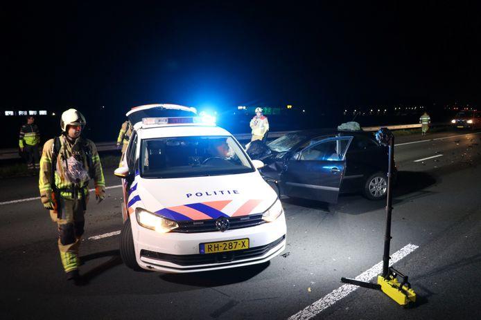 Aanrijding van een politieauto op A2 tussen Maarssen en Breukelen