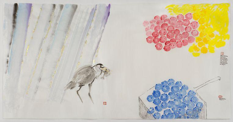 Het gaat regenen! Eet smakelijk! (Mondriaan Oliebollen of Trashy Mondriaan) 2020, acryl, inkt en aquarel op rijstpapier, 98 × 180 cm. Beeld Evelyn Taocheng