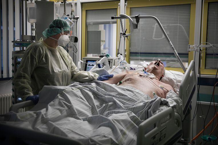 Een coronapatiënt aan de beademing op de intensive care. Beeld DANIEL ROSENTHAL