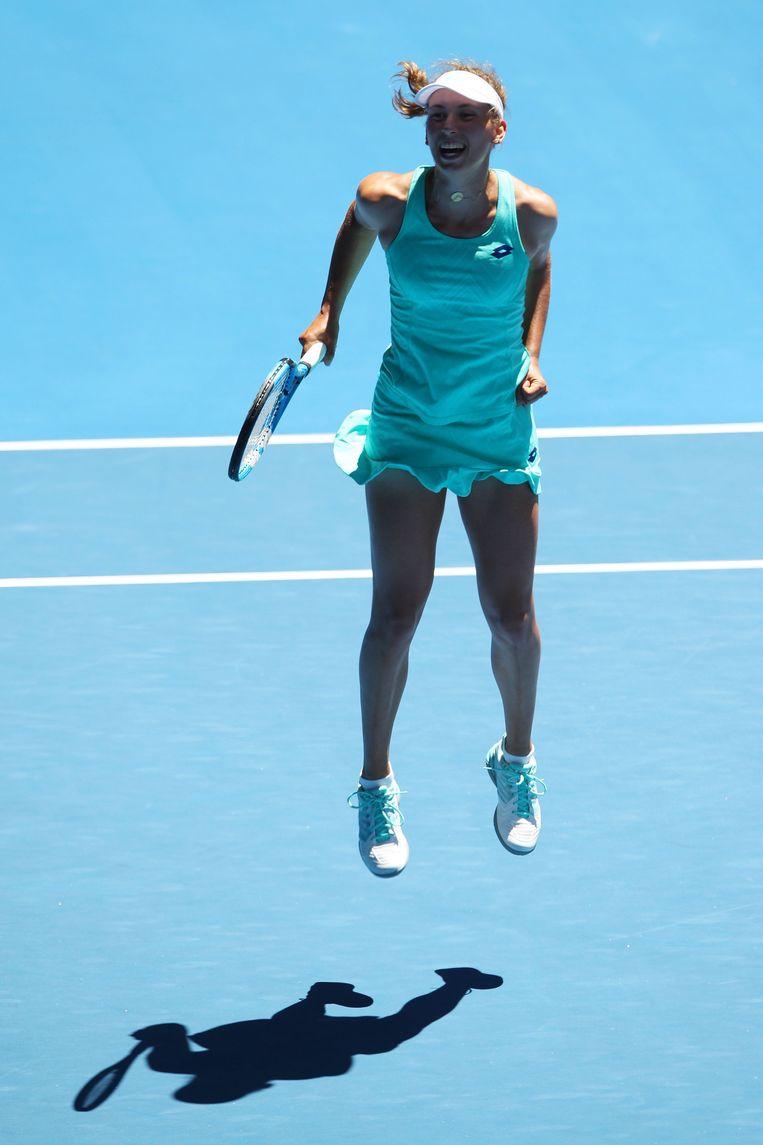 Elise Mertens schreeuwt het uit van vreugde nadat ze Elina Svitonlina, nummer 4 van de wereld, verslaat en naar de halve finales van de Australian Open mag. Beeld Photo News