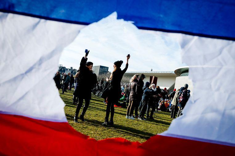 Demonstranten op het Museumplein.  Beeld Hollandse Hoogte /  ANP