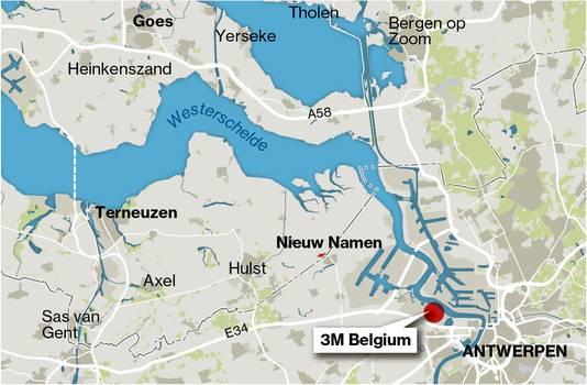Kaartje 3M fabriek Antwerpen.