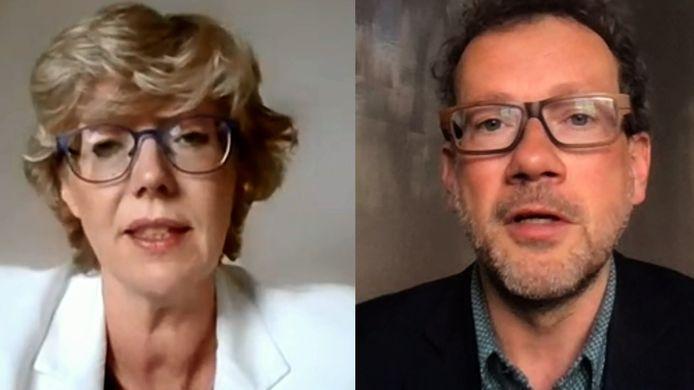 Burgemeester Veerle Heeren (links) - Politicoloog Dave Sinardet (rechts)