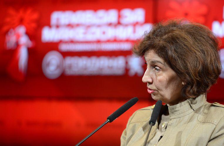 Gordana Siljanovska Davkova van de oppositiepartij VMRO-DPMNE.