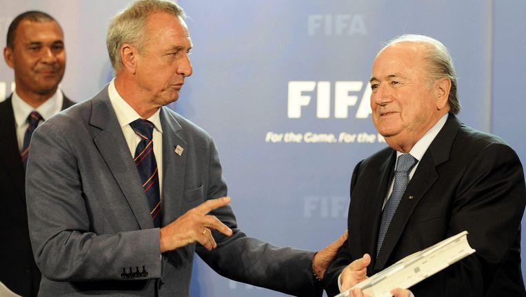 Cruijff en Blatter met het WK-bid Beeld EPA