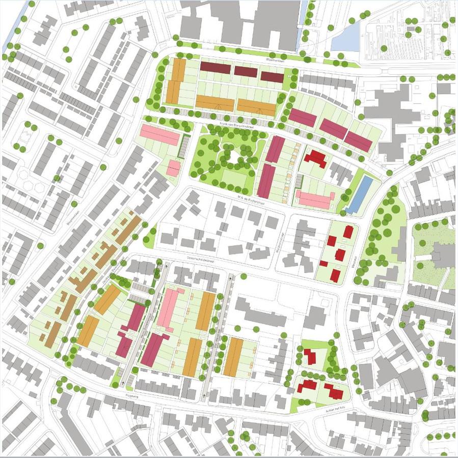 Sint-Maartensdijk West gaat de komende jaren gefaseerd op de schop. De gekleurde woningen geven de nieuwbouwwoningen aan.