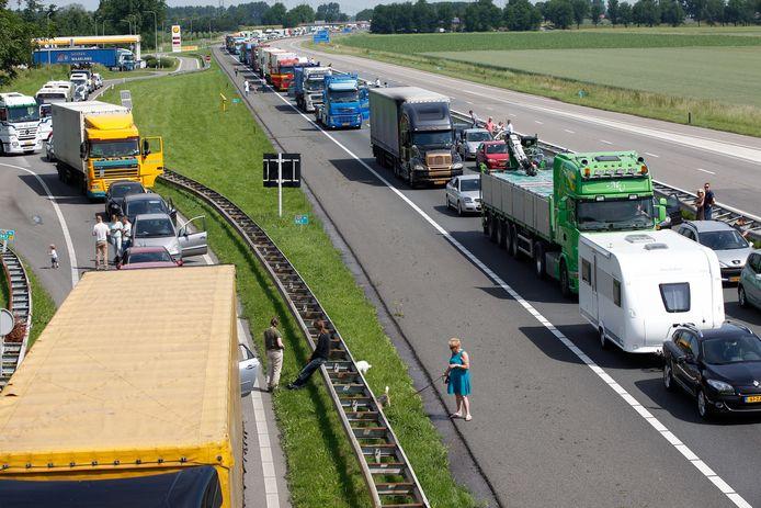 Een lange file op de A29 voor de Haringvlietbrug, hier door een storing. De vrees is dat dit de komende tijd het dagelijkse beeld wordt.