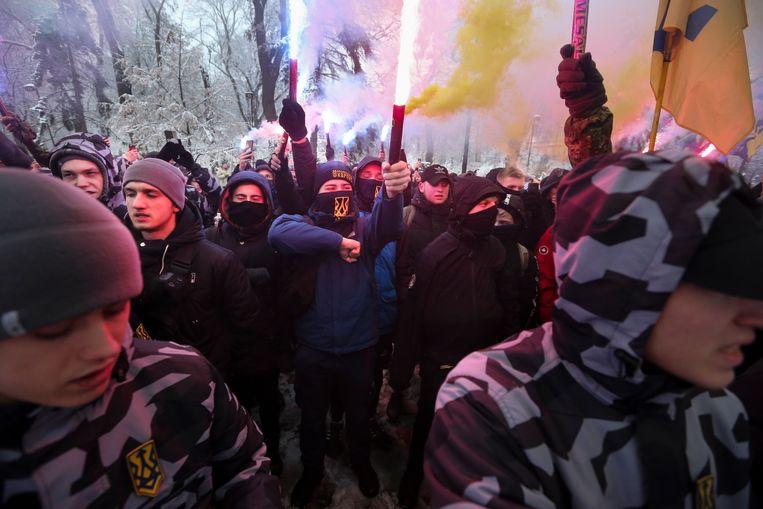 Honderden protestanten trokken in Oekraïne de straten op. Ze willen dat het land zich verzet tegen Rusland.