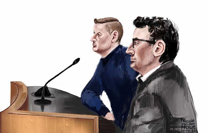 Martin van de B. (voor) en Mathijs IJ. tijdens de behandeling van hun rechtszaak, vier weken geleden.