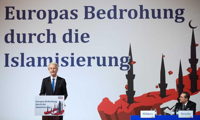 Geert Wilders tijdens zijn speech in Wenen