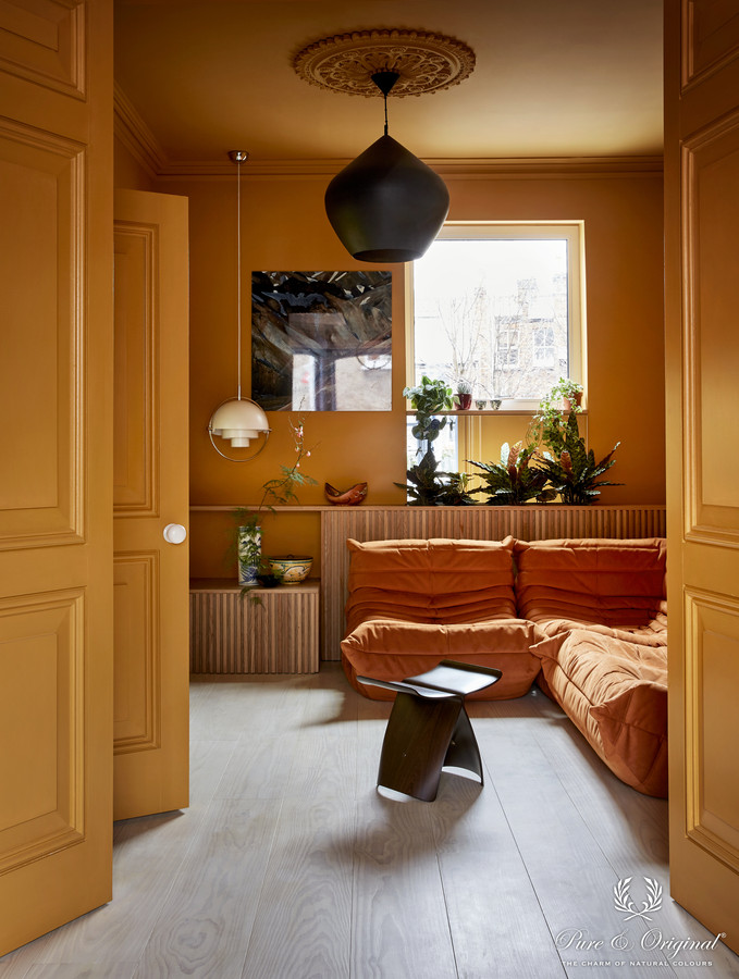 Creative Director:  Iris Floor. Colour Designer: Dagny Thurnmann-Moe KOI Fargestudio. Photographer: Margaret de Lange. Stylist : Kirsten Visdal. Walls and ceiling: Old Ocre Classico. Doors: Old Ocre Traditional Paint