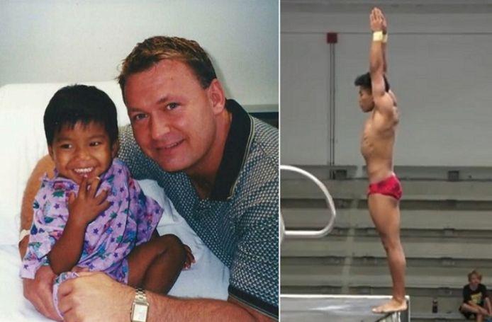 Jordan met papa Jerry Windle/ Jordan tijdens de Amerikaanse trials