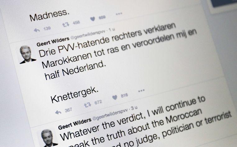 Een tweet van PVV-leider Geert Wilders, na het horen van de vonnis van de Amsterdamse rechtbank in de 'minder-Marokkanen' zaak. Beeld ANP