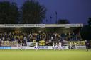 Teleurgestelde NAC-spelers bij een teleurgesteld uitvak na de 1-0-nederlaag in de halve finale van de play-offs.