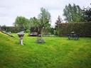 De ruime tuin.