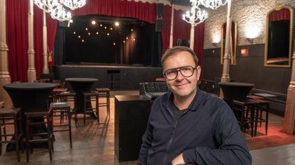 Geike Arnaert (ex-Hooverphonic) en Daan repeteren en spelen in zaal Harmonie in Oudenaarde