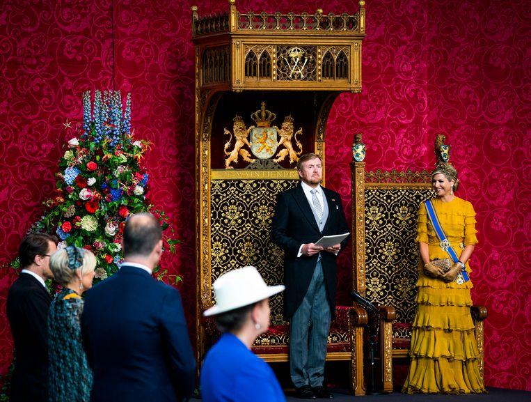 Koning Willem Alexander en Koningin Maxima in de Grote Kerk voor aanvang van de Troonrede. Beeld Freek van den Bergh / de Volkskrant