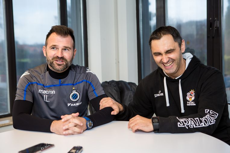 Ivan Leko (coach van Club Brugge) en Dario Gjergja (coach van BC Oostende). Beeld Davy Coghe